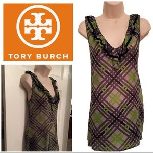 Tory Burch ruffle vneck sleeveless gray green top